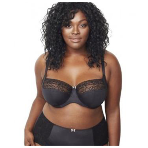 A plus size bra and knickers in a black silk colour with elegant laced pattern