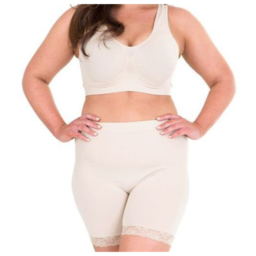 A cream coloured top and bottom shapewear combo